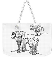 Weekender Tote Bag featuring the drawing Kenyan Walk by Jan Steinle