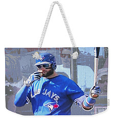 Kevin Pillar At Bat Weekender Tote Bag by Nina Silver