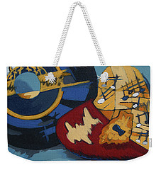Weekender Tote Bag featuring the painting Key To The Heart by Erin Fickert-Rowland