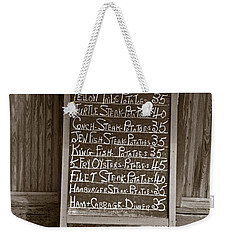 Weekender Tote Bag featuring the photograph Key West Depression Era Restaurant Specials by John Stephens