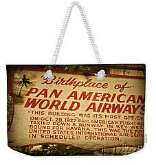 Key West Florida - Pan American Airways Birthplace Sign Weekender Tote Bag