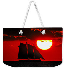 Key West Sunset Sail Silhouette Weekender Tote Bag