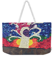 Weekender Tote Bag featuring the painting Kids Art Project Tree Made Of Bottle Plastic Caps Christmas Holidays Festivals Birthday Mom Dad Son by Navin Joshi