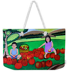 Kids Playing And Picking Apples Weekender Tote Bag