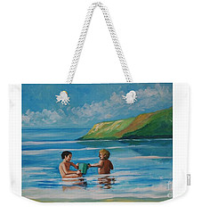Kids Playing On The Beach Weekender Tote Bag
