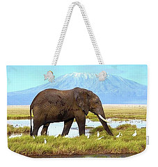 Kilimanjaro Mountain Weekender Tote Bag by Happy Home Artistry