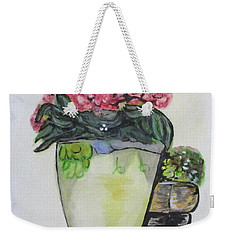 Weekender Tote Bag featuring the painting Kimberly's Castellabate Flower Pot by Clyde J Kell