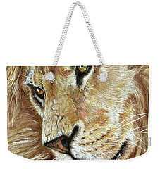 Weekender Tote Bag featuring the drawing King Of The Jungle by Heidi Kriel