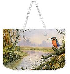 Kingfisher  Autumn River Scene Weekender Tote Bag