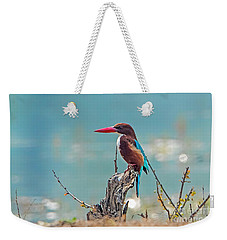 Kingfisher On A Stump Weekender Tote Bag by Pravine Chester