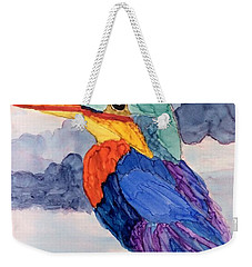 Kingfisher On Post Weekender Tote Bag by Suzanne Canner
