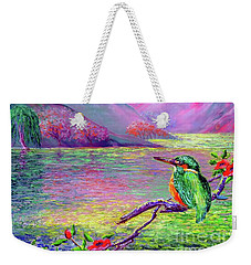 Kingfisher, Shimmering Streams Weekender Tote Bag by Jane Small