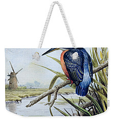 Kingfisher With Flag Iris And Windmill Weekender Tote Bag by Carl Donner