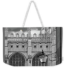 Weekender Tote Bag featuring the photograph Kings College Chapel Cambridge Exterior Detail by Gill Billington