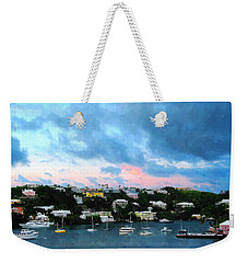 Weekender Tote Bag featuring the photograph King's Wharf Bermuda Harbor Sunrise by Susan Savad