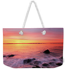 Weekender Tote Bag featuring the photograph Kintyre Rocky Sunset 3 by Grant Glendinning