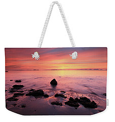 Weekender Tote Bag featuring the photograph Kintyre Rocky Sunset by Grant Glendinning