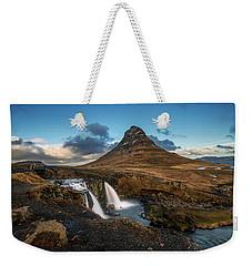 Kirkjufellsfoss Waterfall And Kirkjufell Mountain, Iceland Weekender Tote Bag
