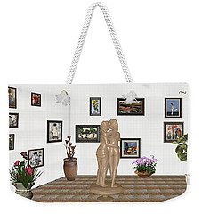 Weekender Tote Bag featuring the mixed media Kiss 3 by Pemaro