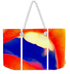 Weekender Tote Bag featuring the photograph Kiss Me-triptych by JD Mims