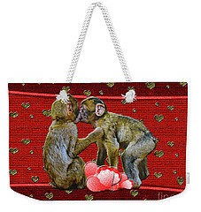 Kissing Chimpanzees Hearts Weekender Tote Bag