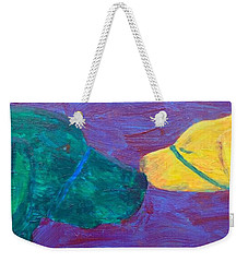 Weekender Tote Bag featuring the painting Kissing Dog by Donald J Ryker III