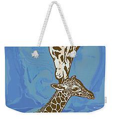 Kissing - Giraffe Stylised Pop Art Poster Weekender Tote Bag