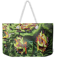 Weekender Tote Bag featuring the painting Kitchen Art Chopped Veggie Salad Chef Cuisine Christmas Holidays Birthday Mom Dad Fastfood Food by Navin Joshi