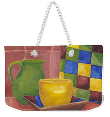 Weekender Tote Bag featuring the painting Kitchen Corner by Patricia Cleasby