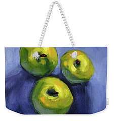 Weekender Tote Bag featuring the painting Kitchen Pears Still Life by Nancy Merkle