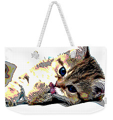 Weekender Tote Bag featuring the mixed media Kitten by Charles Shoup