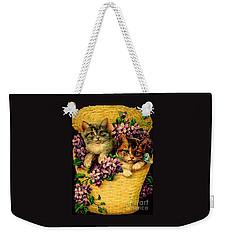 Kittens With Violets Victorian Print Weekender Tote Bag