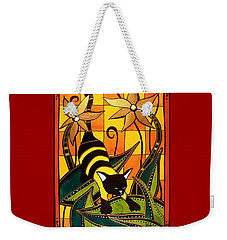 Kitty Bee - Cat Art By Dora Hathazi Mendes Weekender Tote Bag by Dora Hathazi Mendes