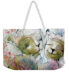 Weekender Tote Bag featuring the painting Kitty Hearts by Eleatta Diver