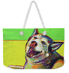 Kitty, The Husky Weekender Tote Bag by Robert Phelps