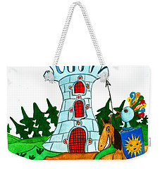 Brave Knight-errant And His Funny Wise Horse Weekender Tote Bag by Don Pedro De Gracia