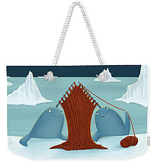Knitting Narwhals Weekender Tote Bag