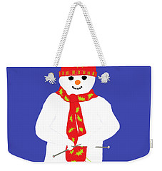 Weekender Tote Bag featuring the digital art Knitting Snowman by Barbara Moignard