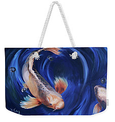 Weekender Tote Bag featuring the painting Koi by Donna Tuten