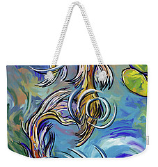 Weekender Tote Bag featuring the painting Koi Fish by Tim Gilliland