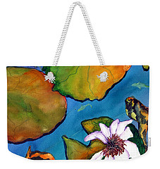 Weekender Tote Bag featuring the painting Koi Pond II Sold by Lil Taylor