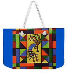 Weekender Tote Bag featuring the painting Kokopelli Dance by Susie WEBER