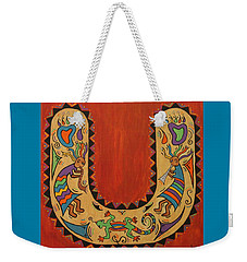 Weekender Tote Bag featuring the painting Kokopelli Horseshoe by Susie WEBER
