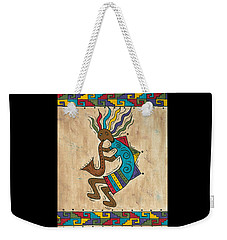 Weekender Tote Bag featuring the painting Kokopelli Sax Player by Susie WEBER