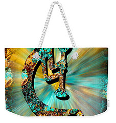 Kokopelli Turquoise And Gold Weekender Tote Bag