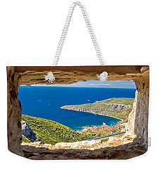Komiza Bay Aerial View Through Stone Window Weekender Tote Bag by Brch Photography
