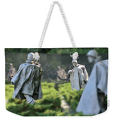 Weekender Tote Bag featuring the photograph Korean Memorial by Lorella Schoales