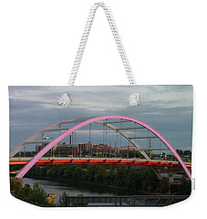 Weekender Tote Bag featuring the photograph Korean Veterans Blvd Bridge by Nick Kirby