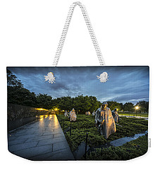 Weekender Tote Bag featuring the photograph Korean War Memorial by David Morefield