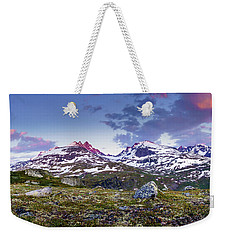 Weekender Tote Bag featuring the photograph Crimson Peaks by Dmytro Korol